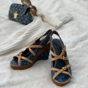 Louis Vuitton Denim Wedges sz39.5